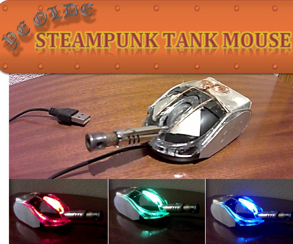 Recycled Pocket-Sized Steampunk Tank Mouse