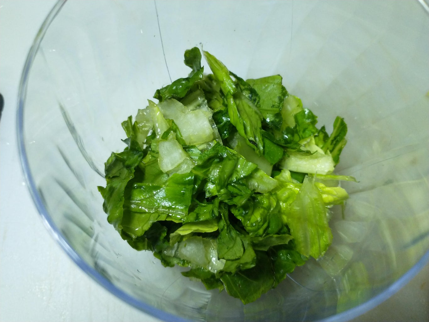 Cut Up the Romaine Leaf Into Small Pieces and Add to Bottom of Salad