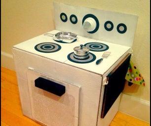 把纸板箱变成一个孩子的炉子