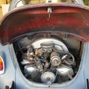 Changing the oil in a 1968 Volkswagon Beetle