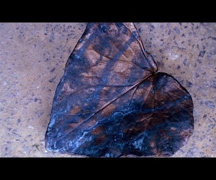 Concrete Leaf Painting - Aged Bronze Green Patina Style
