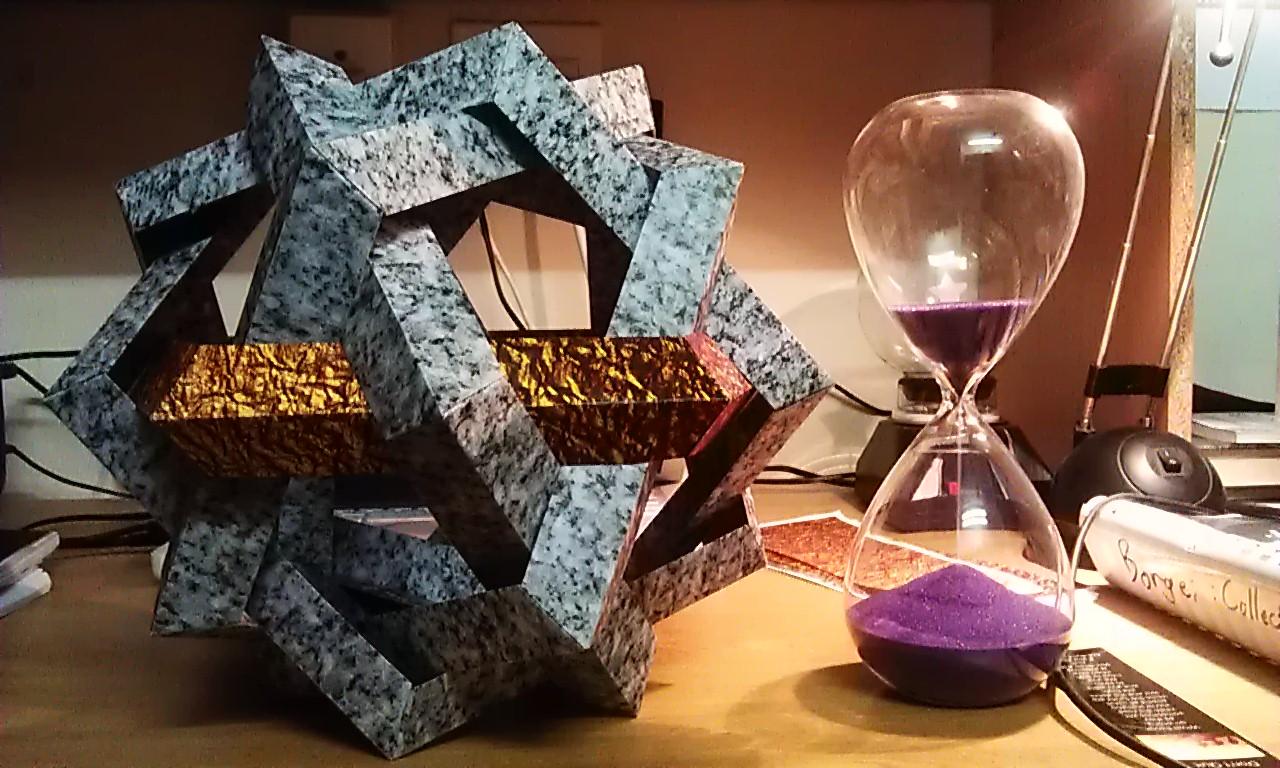 MAKALU modular origami sculpture - 6 woven pentagons