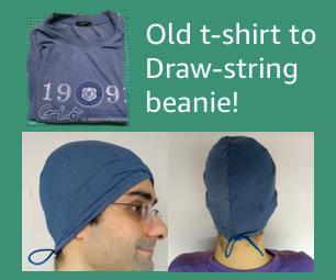 Tranform Old T-shirt to Drawstring Beanie in 10 Mins!