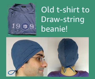 Tranform Old T-shirt to Drawstring Beanie in 10 Mins!