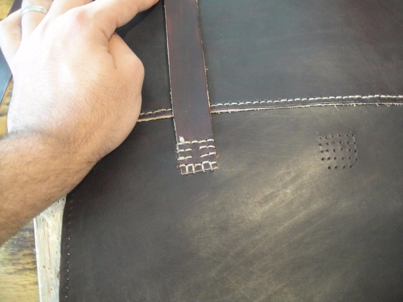 Sewing on the Lid and Straps