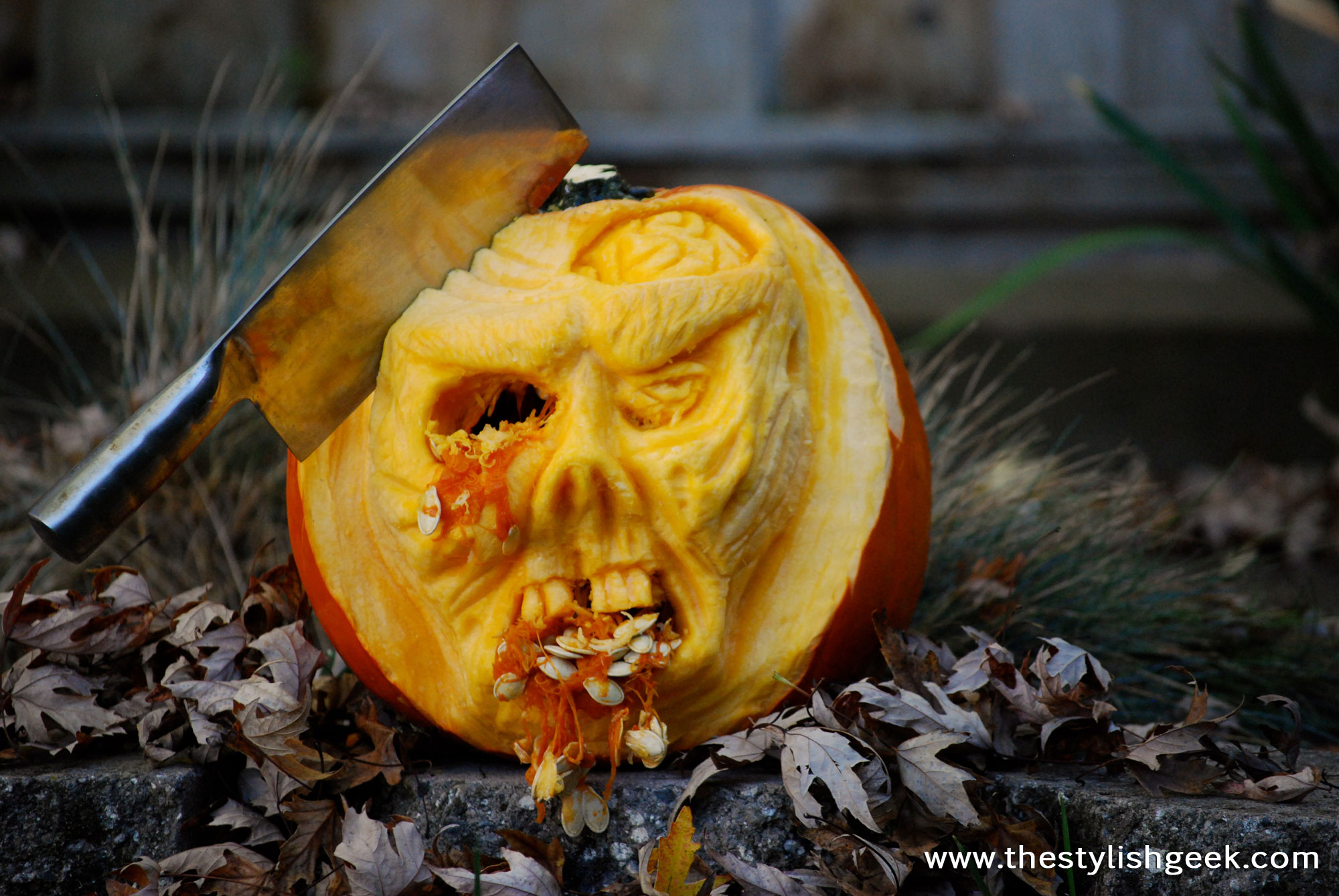 Walking Dead inspired zombie pumpkin