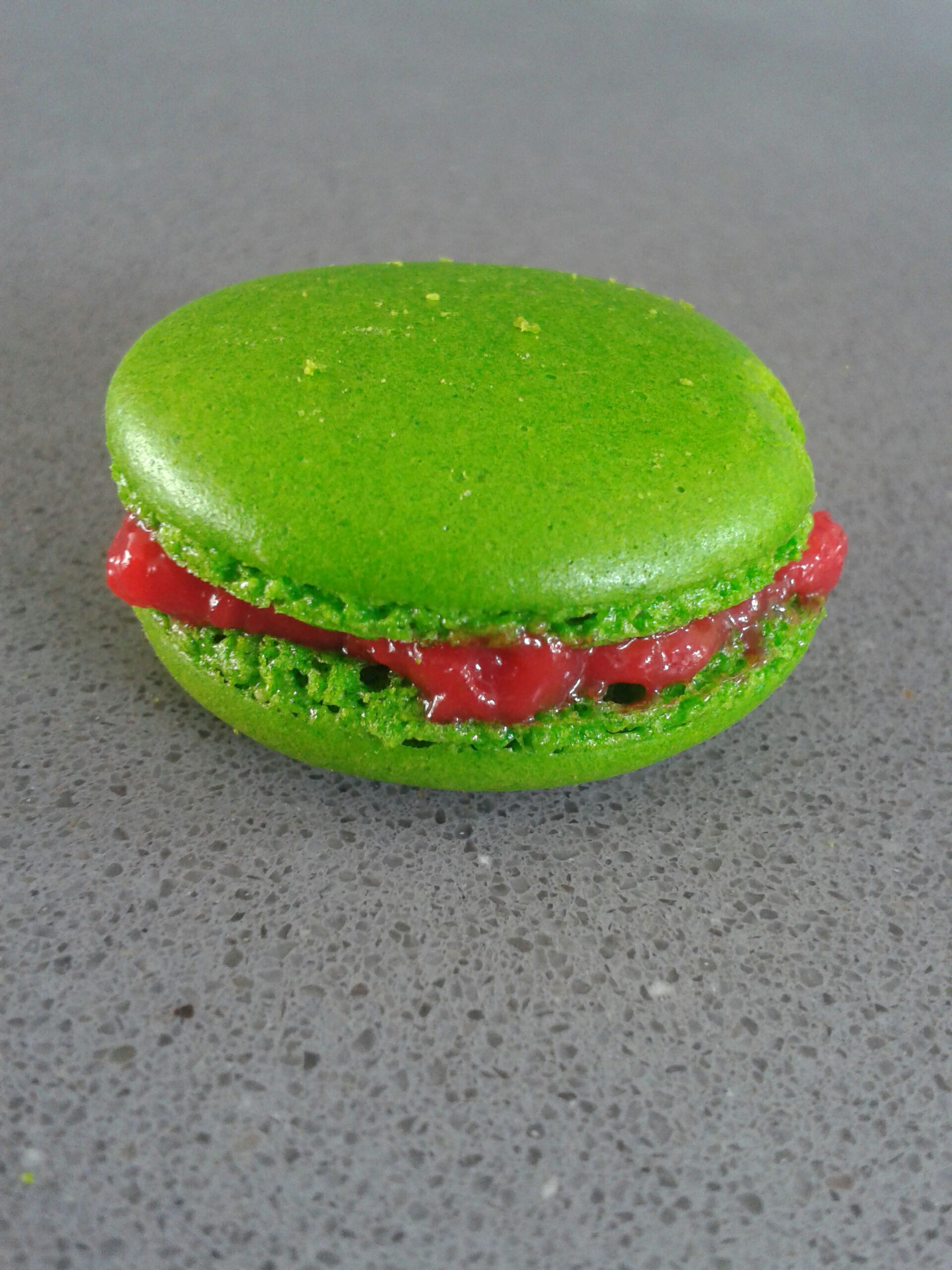 Watermelon chervil french macarons