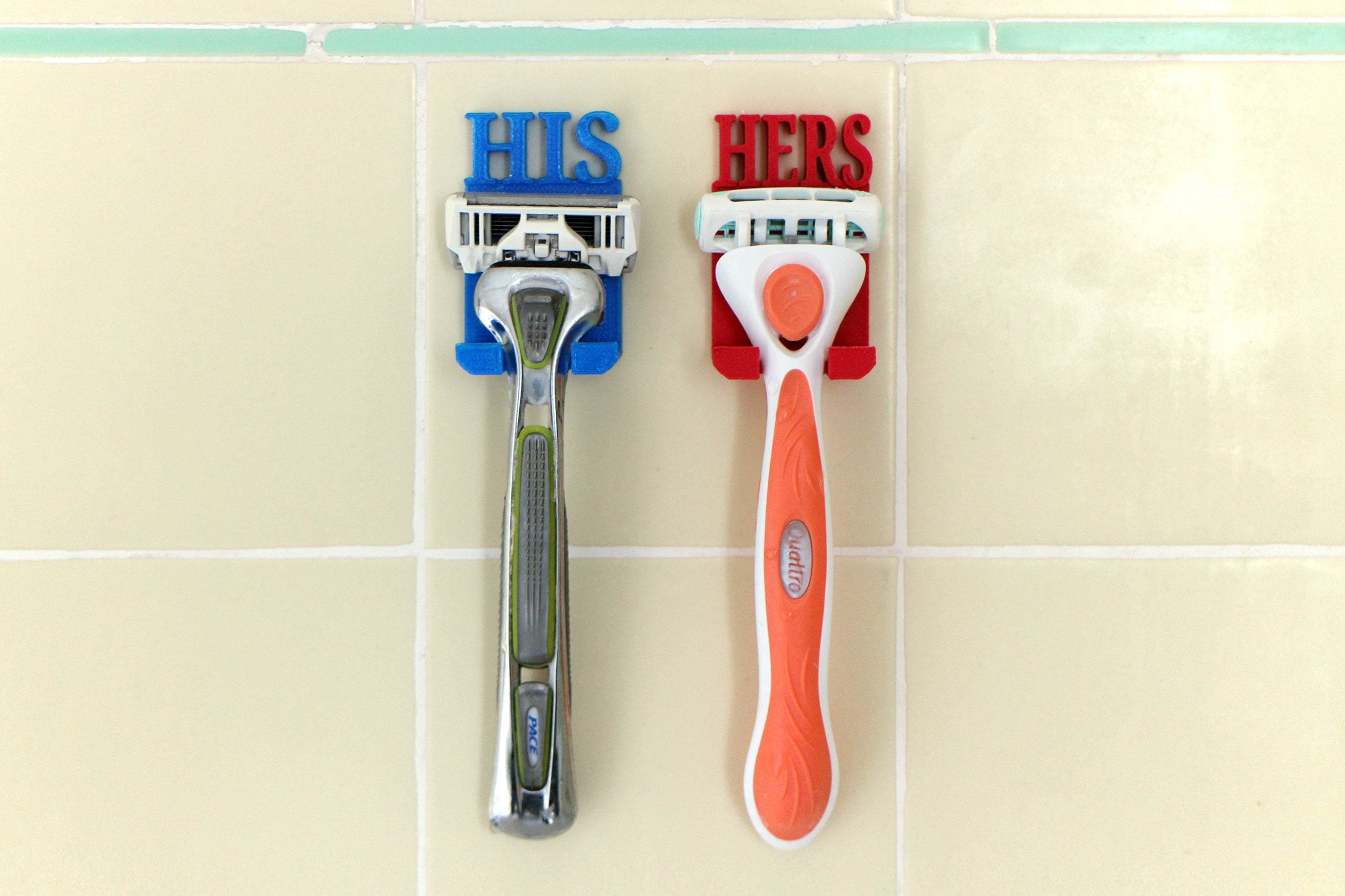 "shower razor holder ""His Hers"" Organizer"