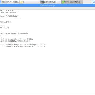 Raspberry Pi + Node.js + Blynk App + DHT11/DHT22/AM2302