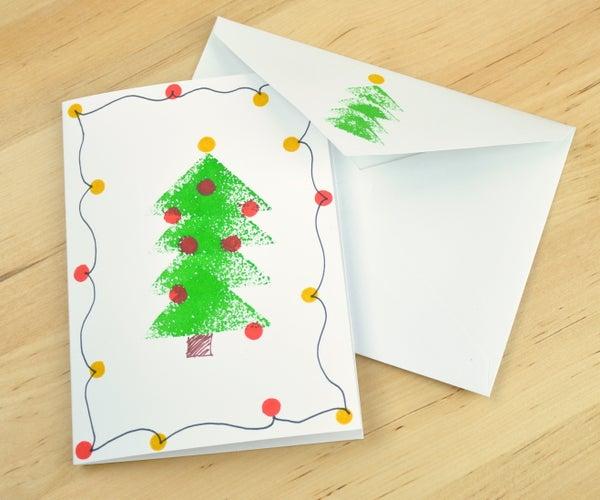 Sponge Stamped Christmas Tree Card