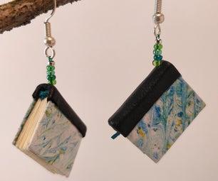 Miniature Hand-bound Book Earrings