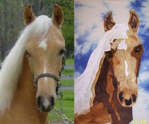 Fabric Portrait of a Horse Quilt Block