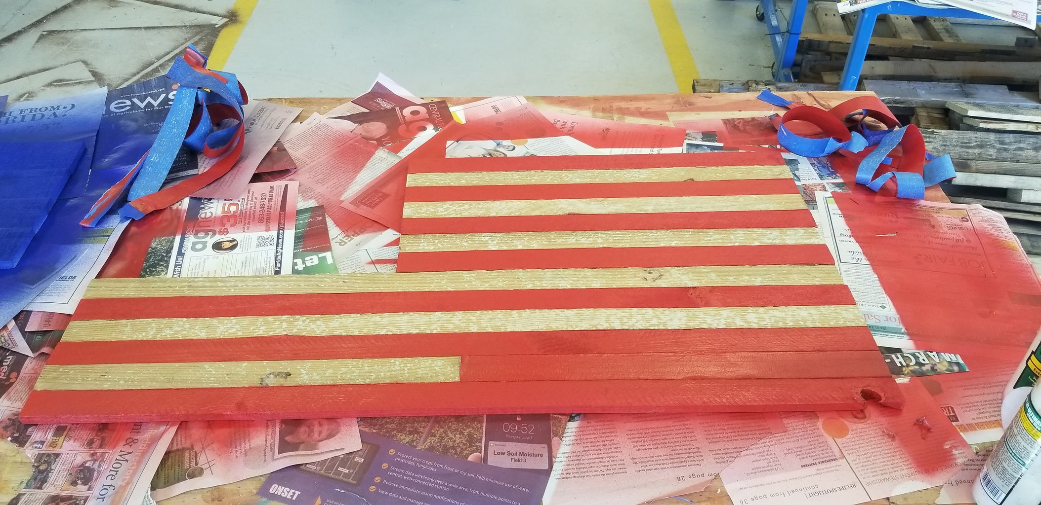 Tape Off the White Stripes Then Spray the Flag Red