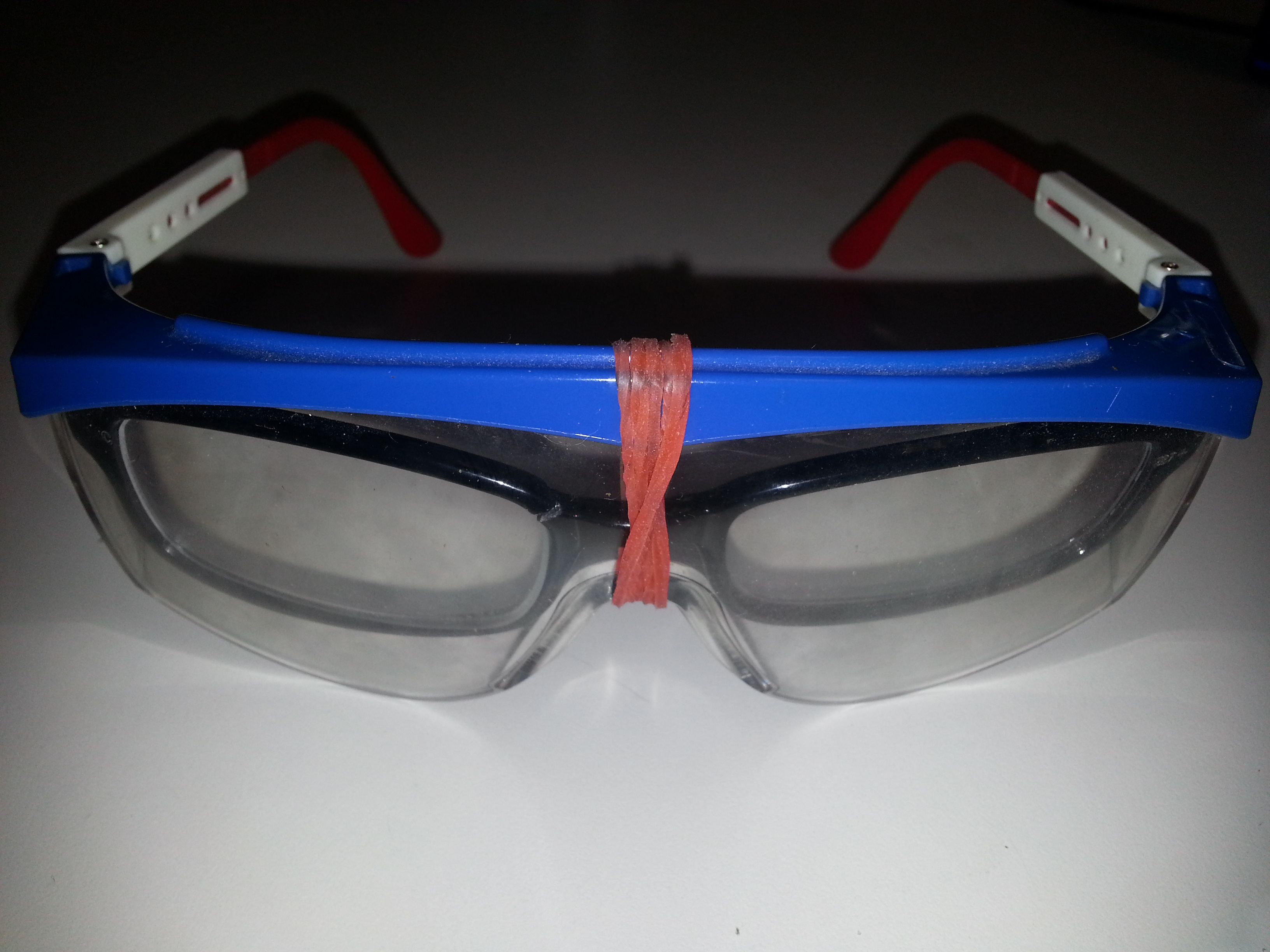 Smart Recycling: Reading Glass + Safety Glass = Durable Dual Purpose Eye Glass.  I finished it up at TechShop.