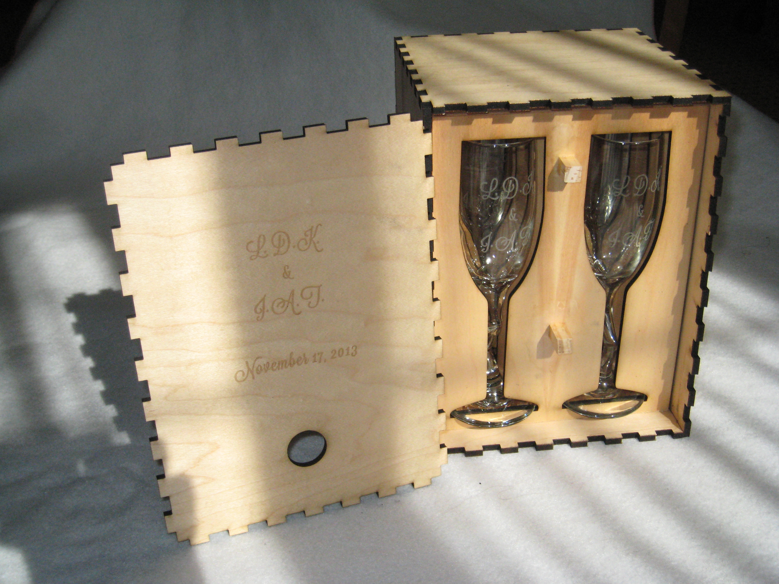 Laser engraved flutes and lasered presentation box