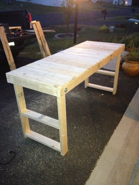 Easy Folding Workbench 5 Steps Instructables - How To Make A Folding Table Legs