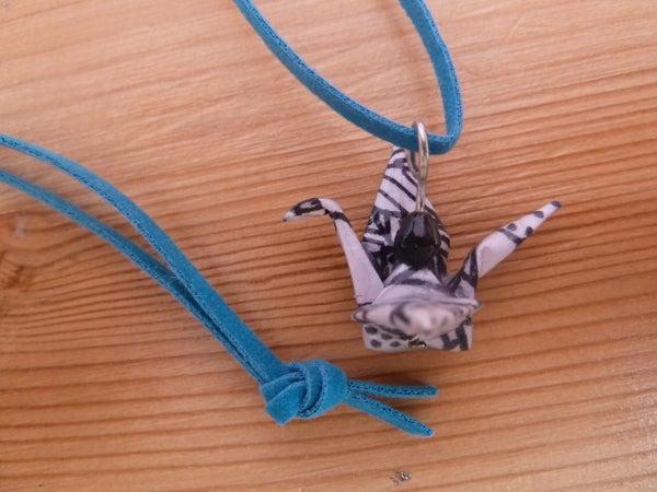 Necklace With Origami Crane Pendant