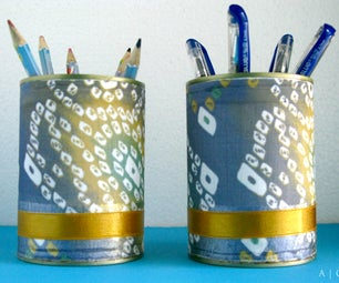 Fabric Covered Tin Cans ~ Stationery / Cutlery Holder