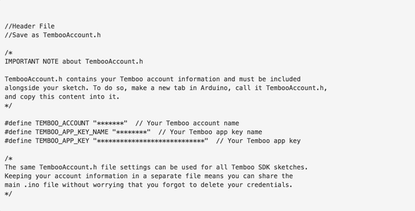 Add Your Twilio and Temboo Credentials to the Sketch.