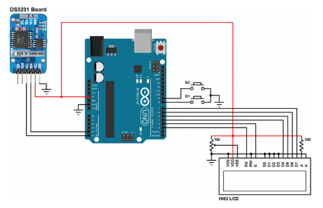 Connection of Arduino Clock