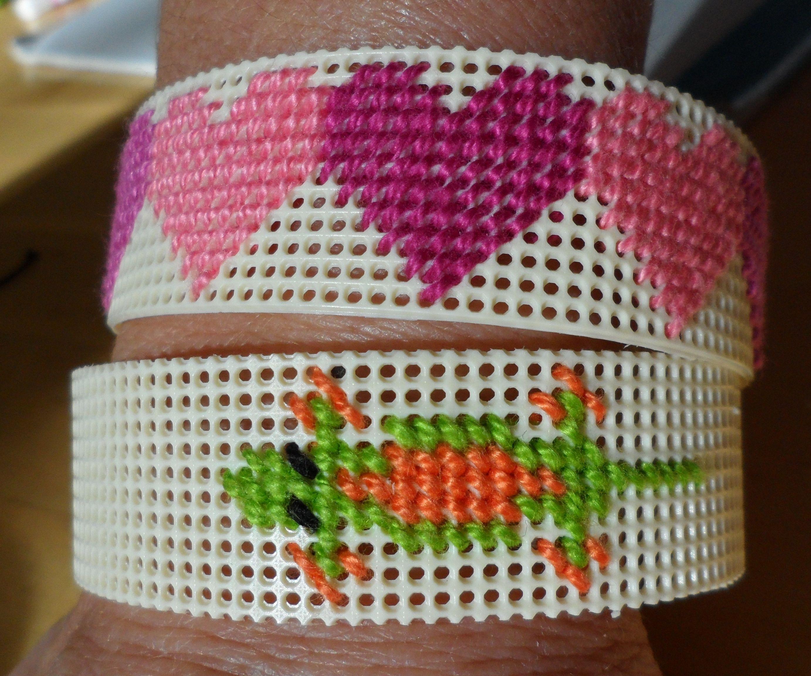 Heart or Gecko Plastic Canvas Bracelet