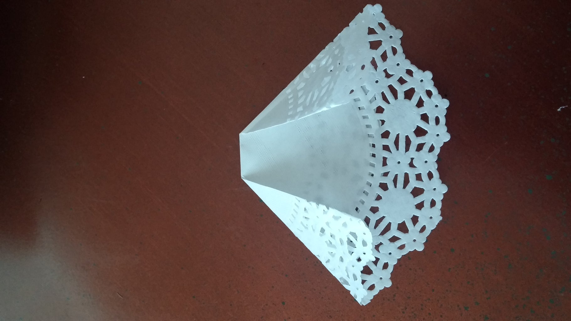 Folding Doily to Create Dress Bottom