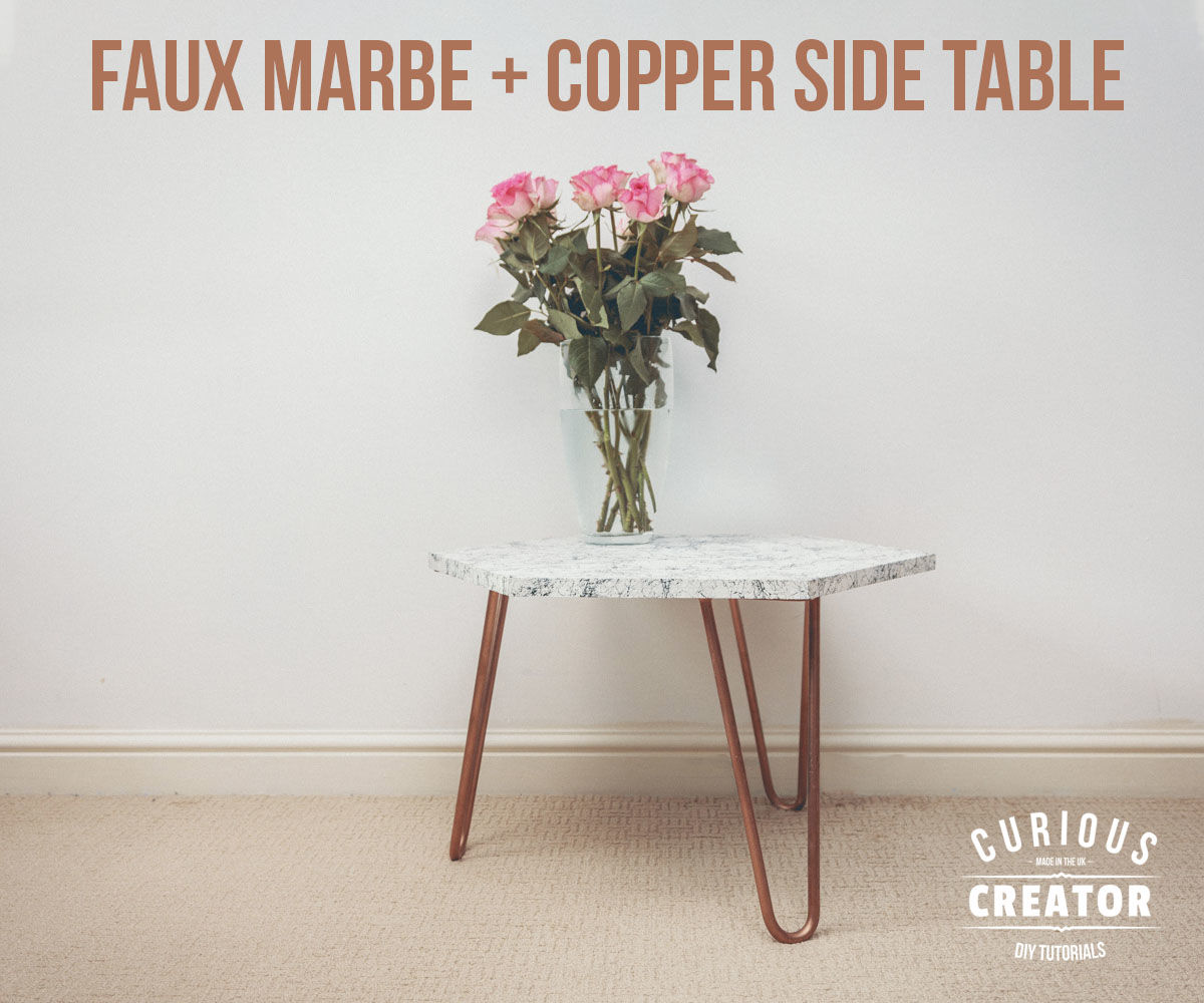 Faux Marble + Copper Side Table