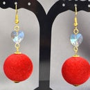 Beebeecraft Tutorials on Making Red Pompon Earrings