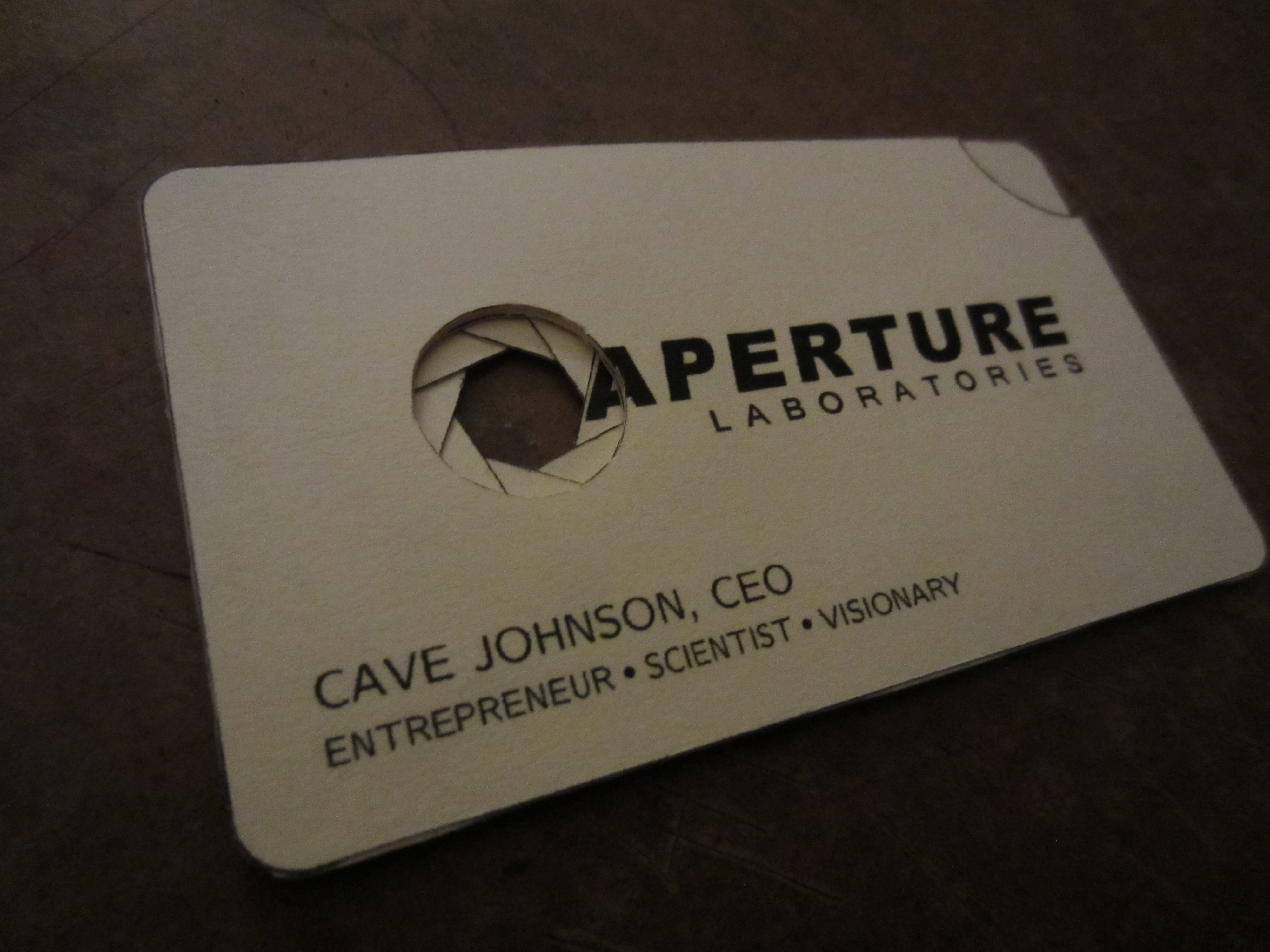 Aperture Science Business Card