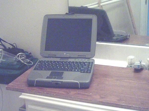 One Coat Hanger Laptop Stand
