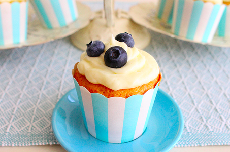 Vanilla Cupcakes With Blueberry Compote and Cream Cheese Frosting