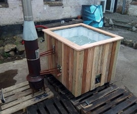 Hot Tub Pallet Tank, Wood Fired Using Copper Coils