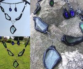 废料玻璃件成珠宝套装
