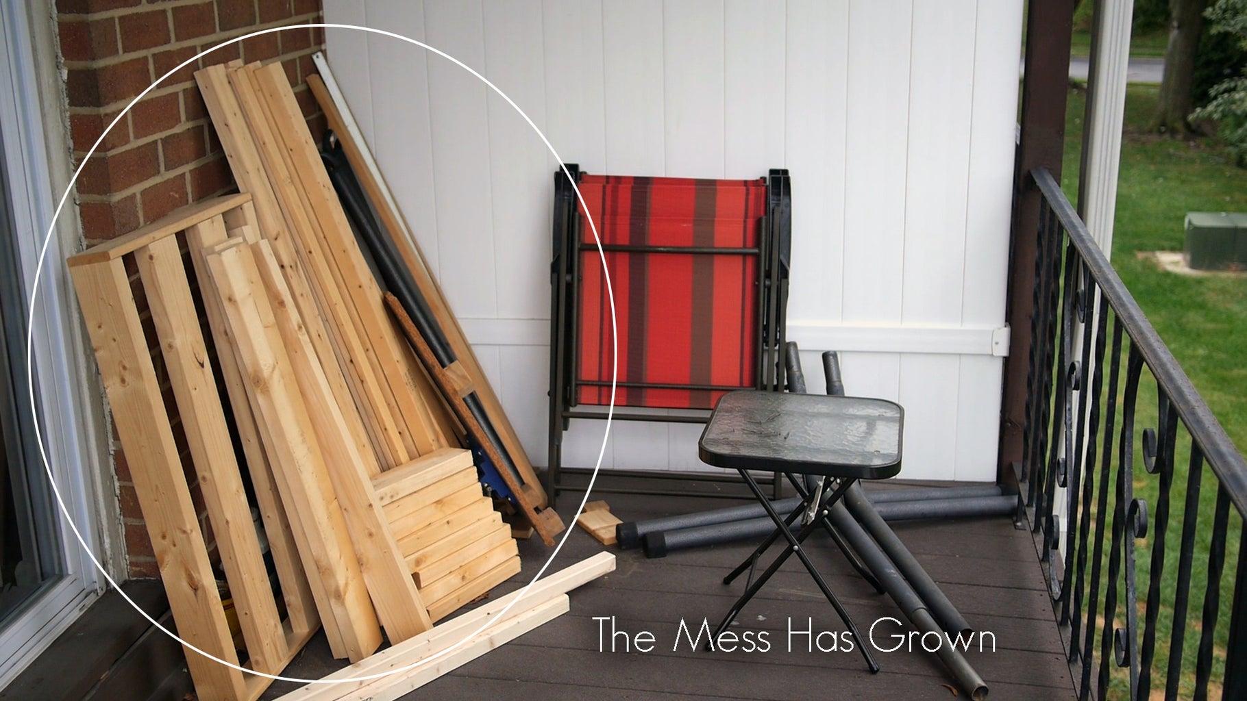 Outdoor Workbench With Internal Wood Storage