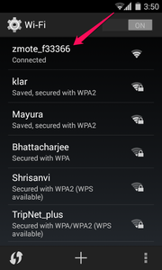 Connect to the Zmote's Wi-Fi Hotspot