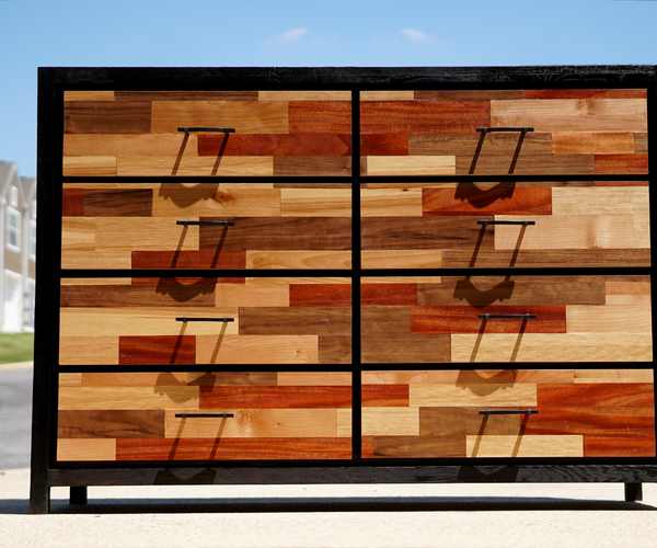 Patchwork Plywood and Ebonized Oak Dresser