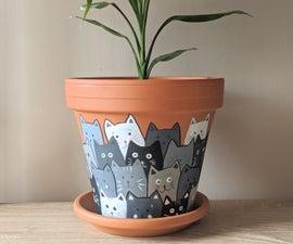 Painted Cats Terracotta Flower Pot