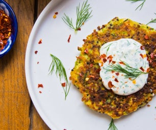 Protein Packed Hemp & Zucchini Fritters With Maple Yoghurt Sauce