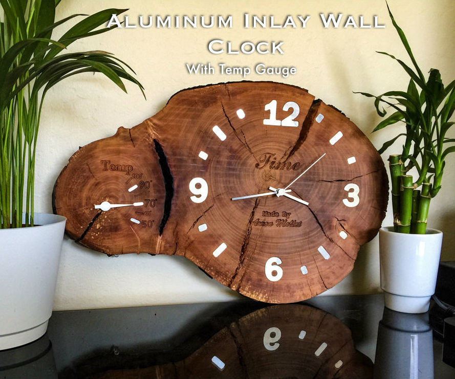 Aluminum Inlay Cross-Cut Log Clock