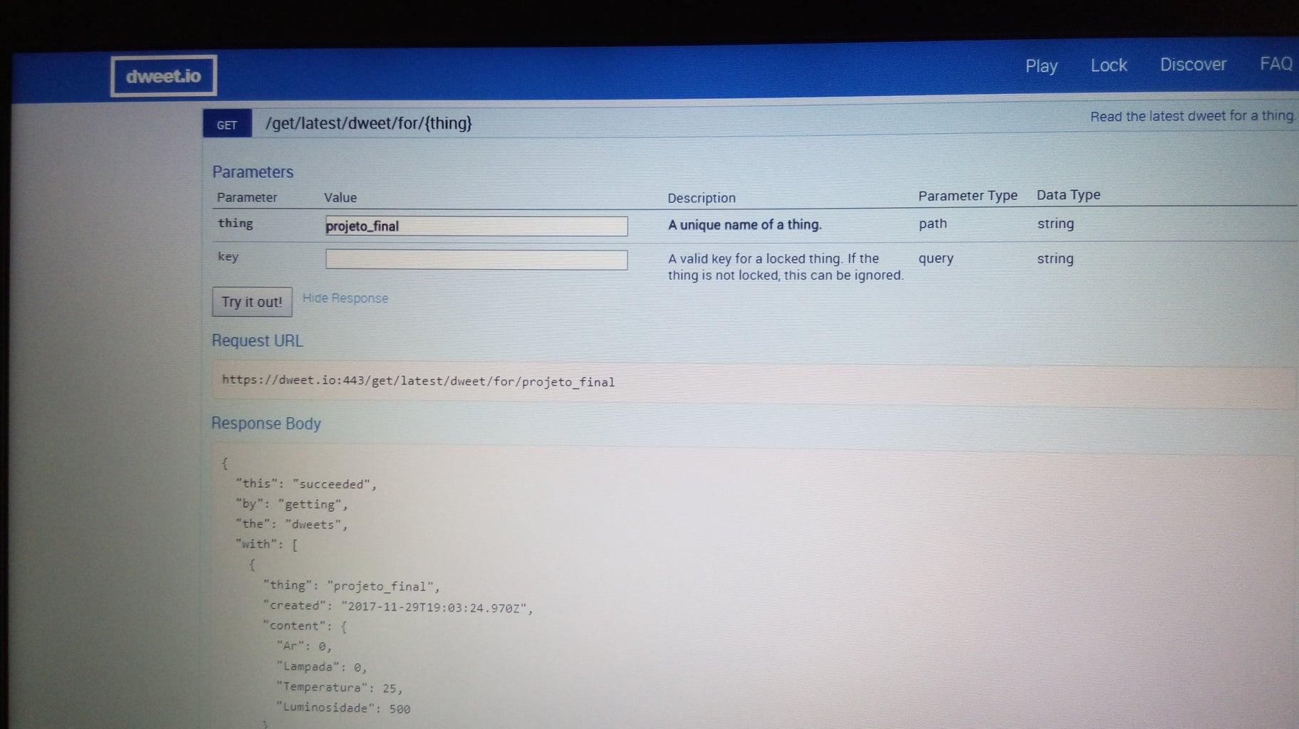 Configuração Do Site Dweet