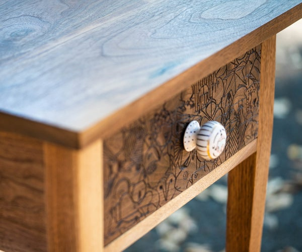 Hand Carved Walnut End Table