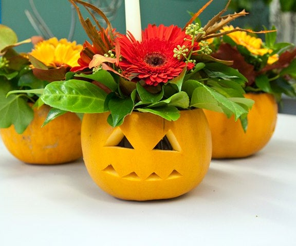 Floral Pumpkin Candles