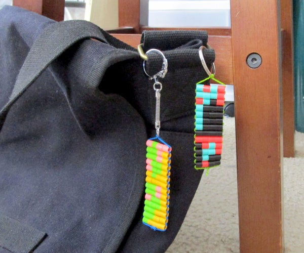 Morse Code Woven Beaded Keychain