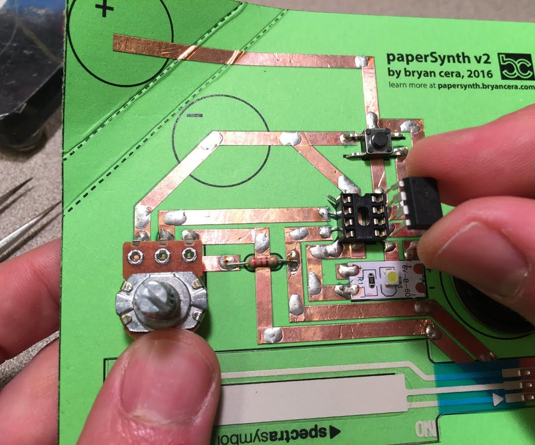 """PaperSynth: an """"8-bit"""" Synthesizer Made Out of Paper and Copper Foil."""