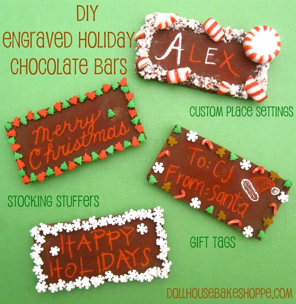 DIY Engraved Holiday Chocolate Bar Place Settings, Gift Tags & Stocking Stuffers