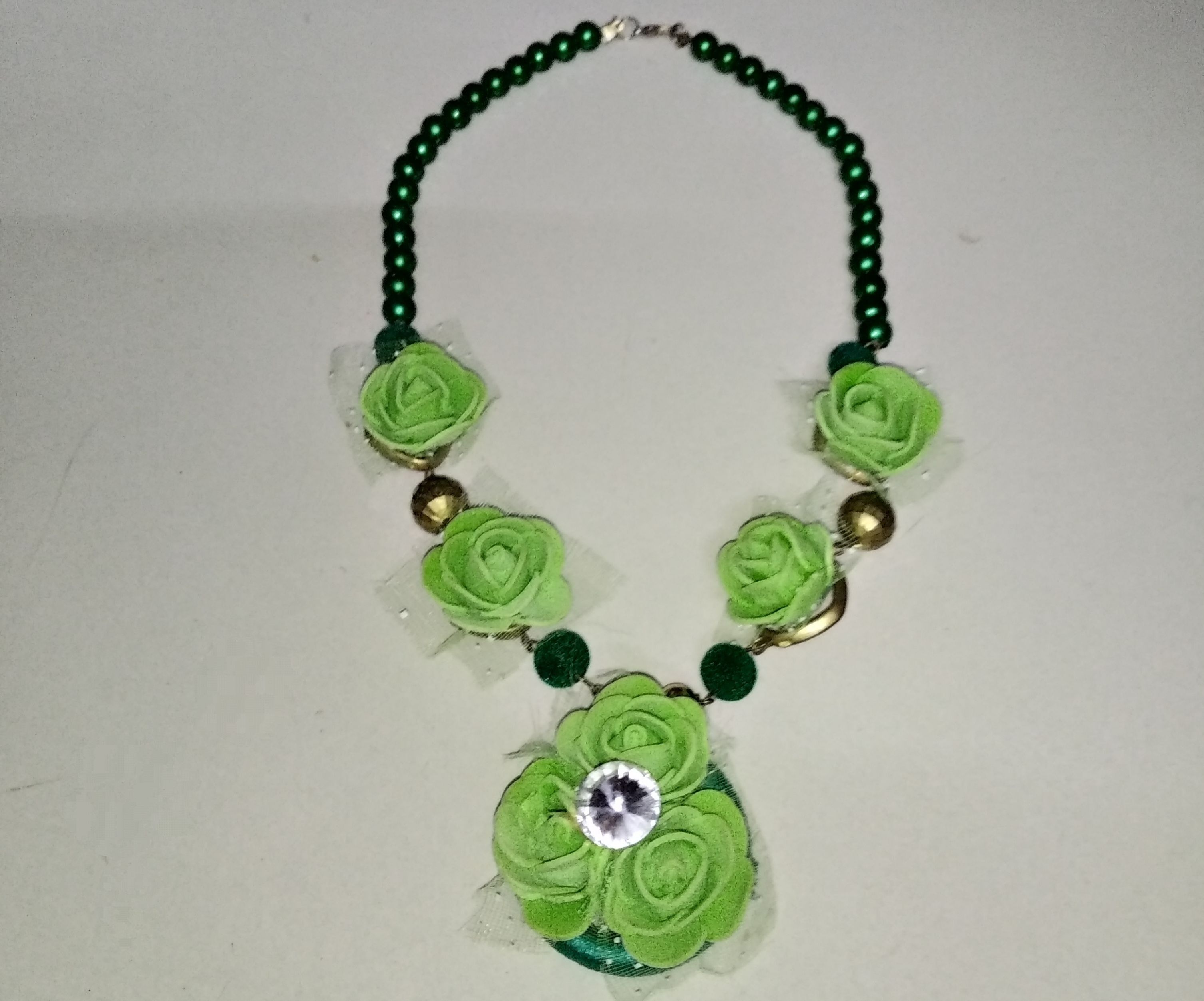 Dazzling Green Beads Necklace and Earrings