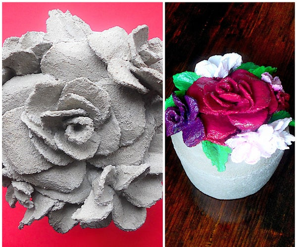 Concrete Jewelry Box With Raised Flowers