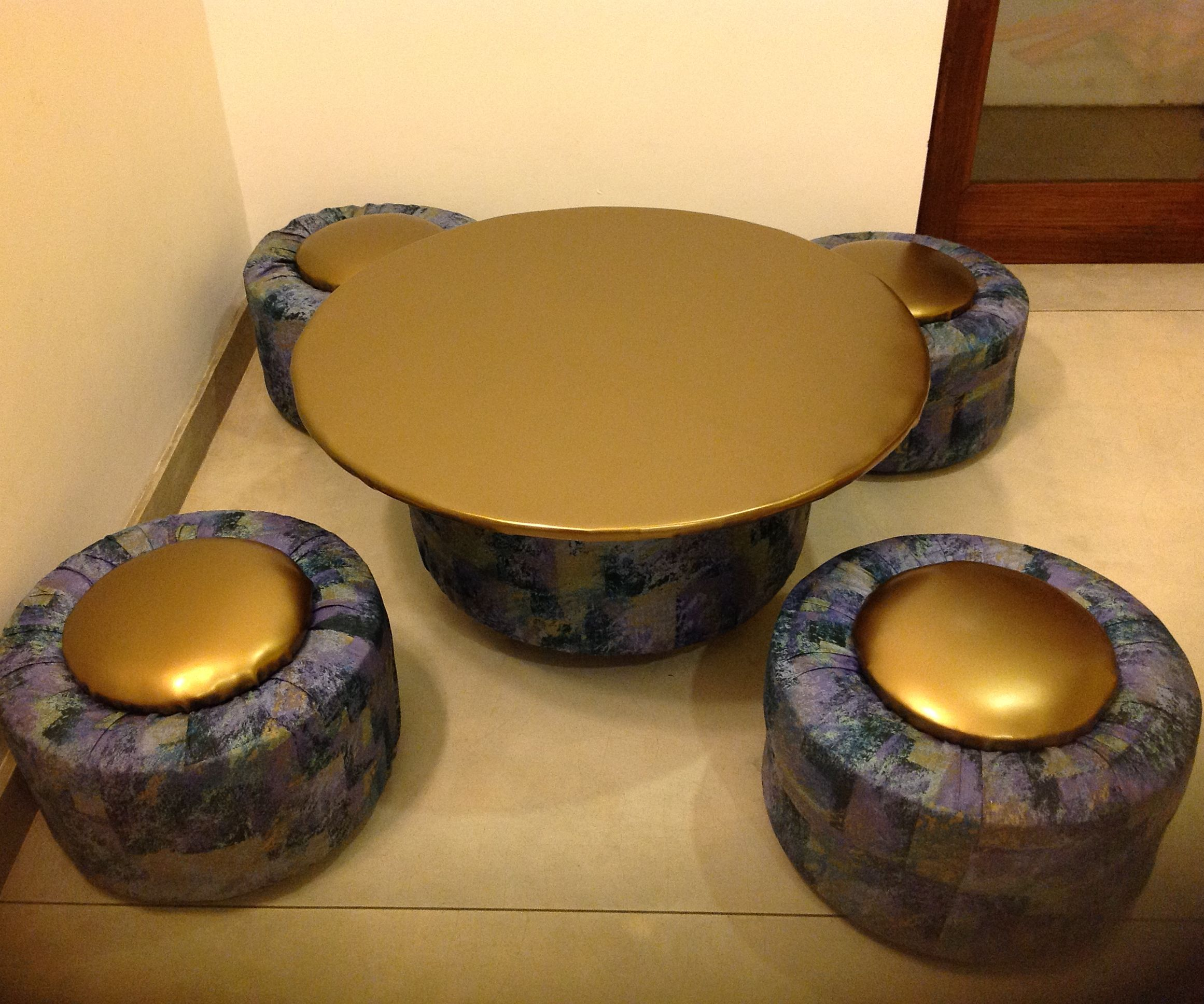 Tire Table and Ottomans for a playroom!