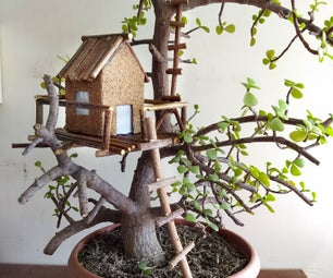 Bonsai Mini Lighted Rustic Tree House