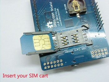 Insert a SIM Card to the GPRS Shield.
